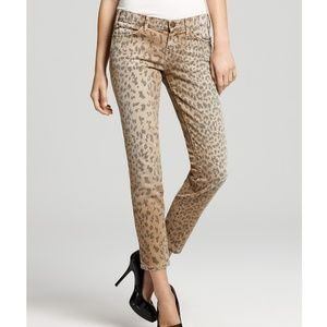 Current Elliott Leopard Stiletto Skinny Denim Pant